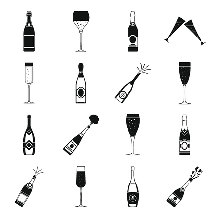 Champagne bottle glass icons set. Simple illustration of 16 champagne bottle glass vector icons for web