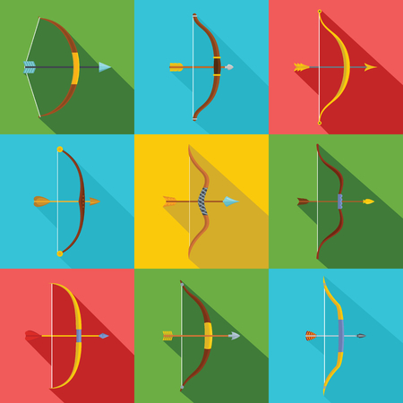 Bow arrow weapon icons set flat illustration colorful vector for web