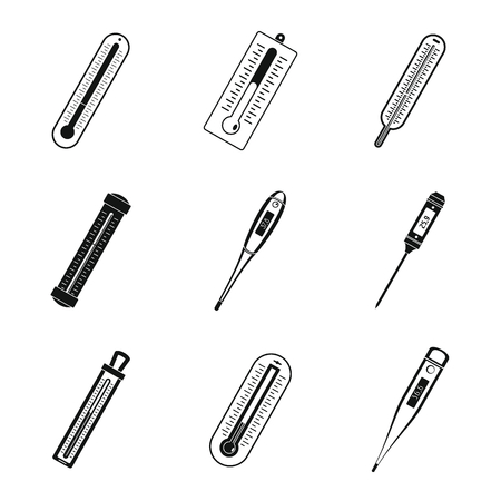 Thermometer temperature icons set. Simple illustration of 9 thermometer temperature vector icons for web