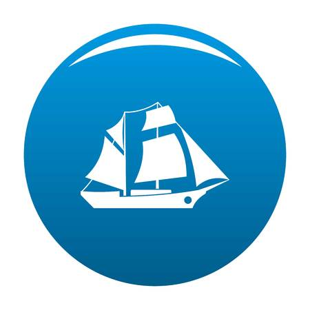 Ship excursion icon on blue circle button isolated vector illustration