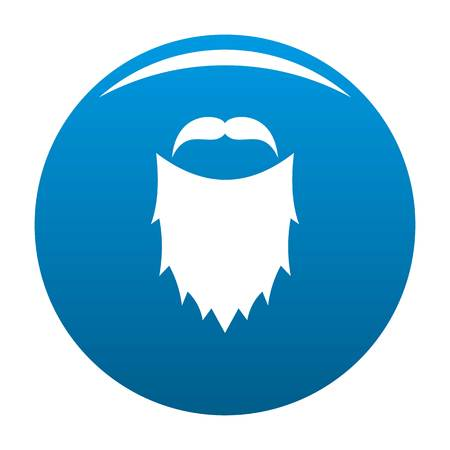 Mask beard icon vector blue circle isolated on white background  Vettoriali