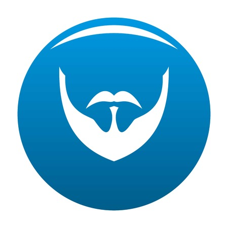 Person beard icon vector blue circle isolated on white background