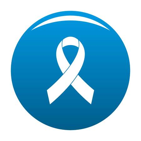 Breast cancer awareness red ribbon icon vector blue circle isolated on white background