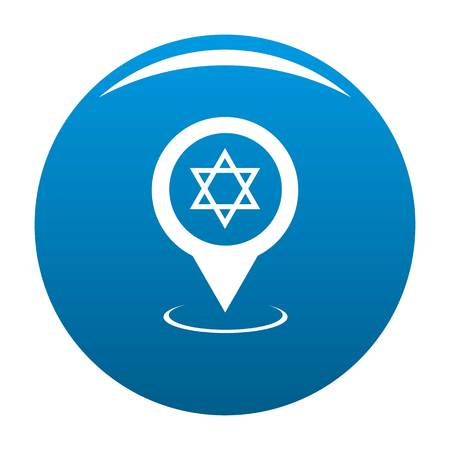 Synagogue map pointer icon vector blue circle isolated on white background