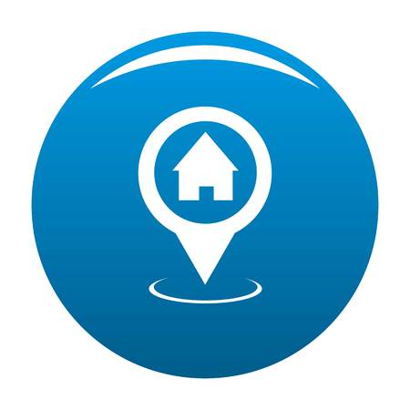 Home map pointer icon vector blue circle isolated on white background