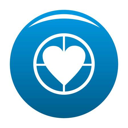 Gunpoint heart icon vector blue circle isolated on white background