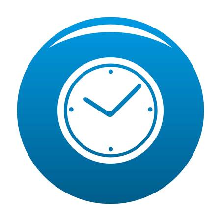 Clock icon vector blue circle isolated on white background