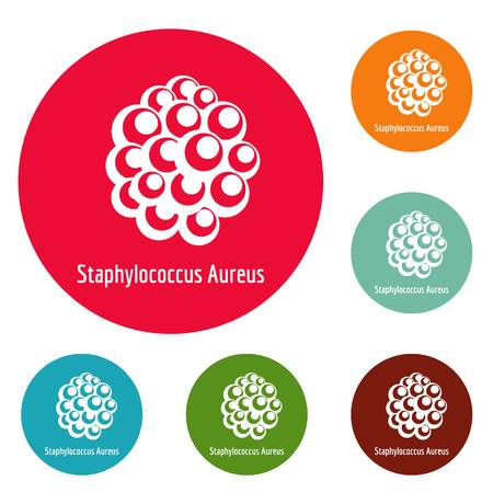 Staphylococcus aureus icons circle set vector isolated on white background