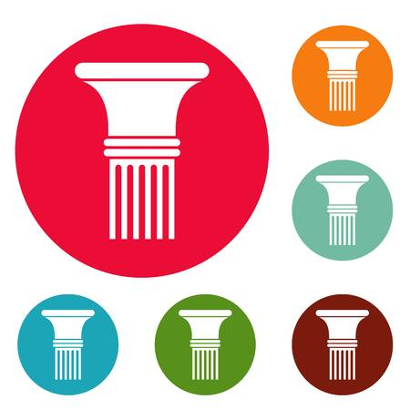 Fluted column icons circle set vector isolated on white background