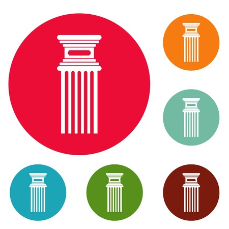 Antique column icons circle set vector isolated on white background