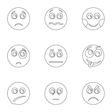 Appearance icons set. Outline set of appearance vector icons for web isolated on white background Illustration
