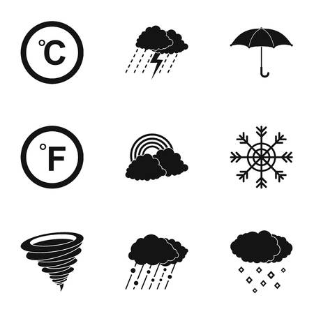 Hydrometcentre icons set. Simple set of hydrometcentre vector icons for web isolated on white background
