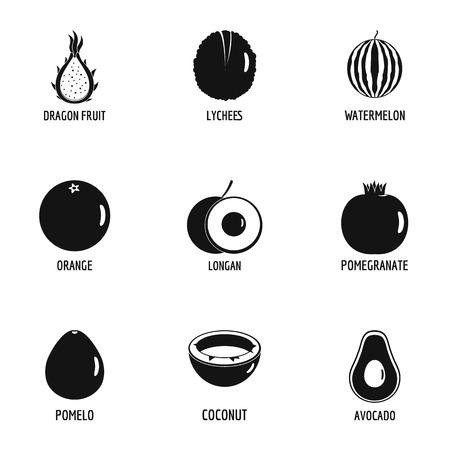 Wild fruit icons set