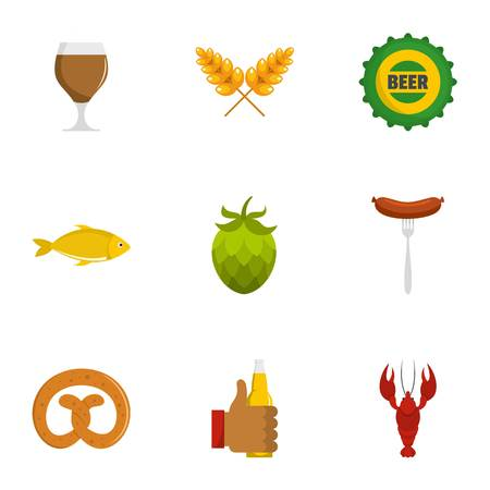 Beer snack icons set. Flat set of beer snack vector icons for web isolated on white background