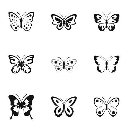 Icons set of butterflies