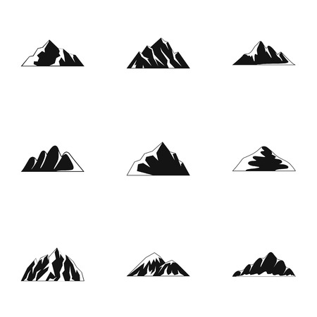 Upland icons set. Simple set of upland vector icons for web isolated on white background