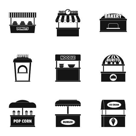 Food shop icons set Ilustração