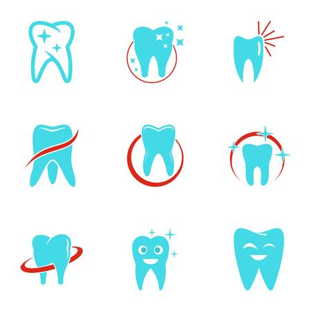 Dental clinic icons set. Flat set of dental clinic vector icons for web isolated on white background