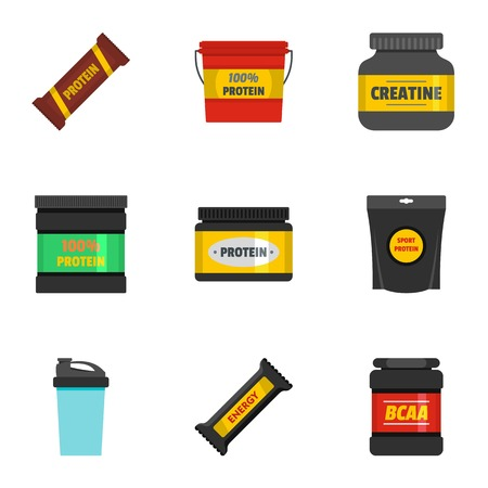 Sport supplement icons set. flat set of sport supplement vector icons for web isolated on white background