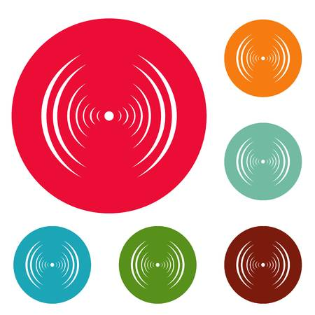Equalizer abstract icons circle set vector isolated on white background