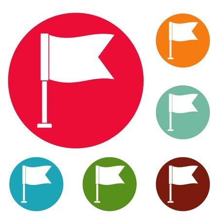 Flag icons circle set vector isolated on white background