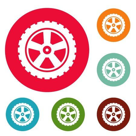 Transport tire icons set Vettoriali