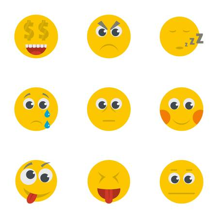 Cartoon set of 9 emoticon vector icons for web isolated on white background Illustration