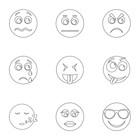 Visage icons set. Outline set of 9 visage vector icons for web isolated on white background