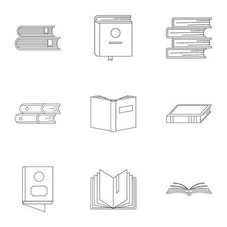 Folio icons set. Outline set of 9 folio vector icons for web isolated on white background Ilustração