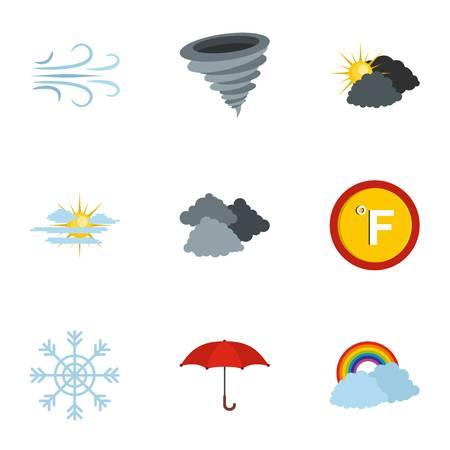 Hydrometeorological centre icons set. flat set of 9 hydrometeorological centre icons for web isolated on white background. 向量圖像