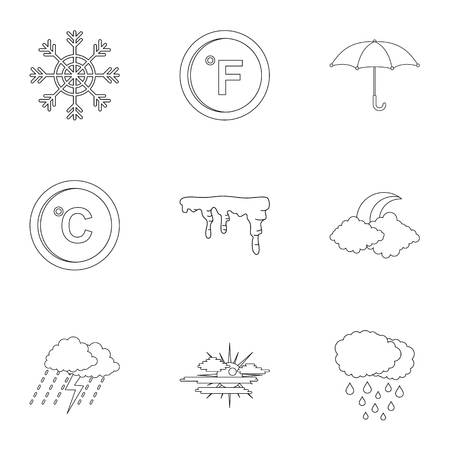 Meteorological observation icons set. Outline set of 9 meteorological observation vector icons for web isolated on white background