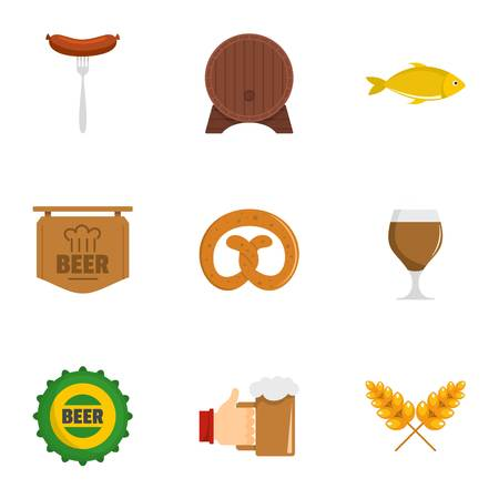 German snack icons set. flat set of 9 german snack vector icons for web isolated on white background.
