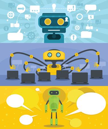 Flat illustration of 3 chat robot vector banner horizontal concepts for web. Ilustração