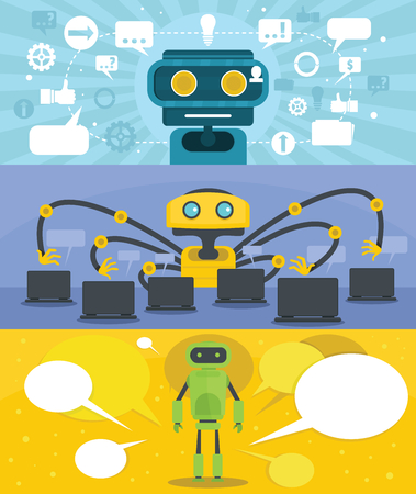 Flat illustration of 3 chat robot vector banner horizontal concepts for web. Vettoriali