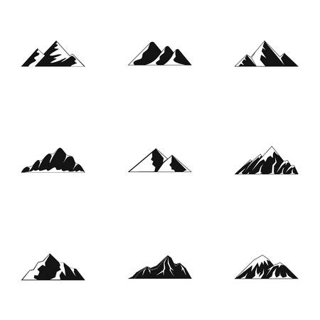 Simple set of 9 highland vector icons for web isolated on white background. Vettoriali