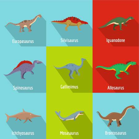 Flat set of 9 dino vector icons for web isolated on white background.