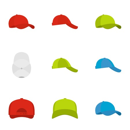 Hat icons set. Flat set of 9 hat vector icons for web isolated on white background