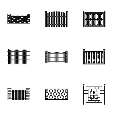 Gate icons set. Simple set of 9 gate vector icons for web isolated on white background Vettoriali
