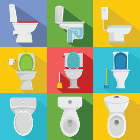 Toilet bowl icons set. Flat illustration of 9 toilet bowl vector icons for web.