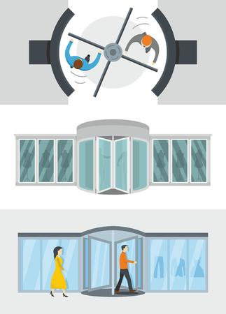 Revolving door banner concept set. Flat illustration of 3 revolving door vector banner horizontal concepts for web.