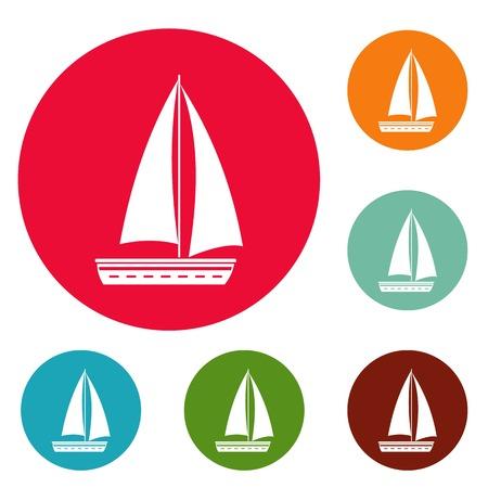 Yacht travel icons circle set vector isolated on white background
