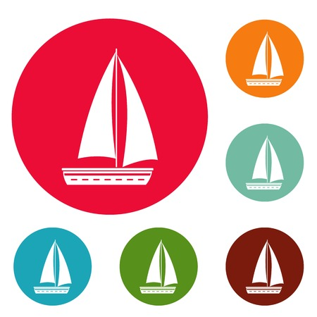 Yacht travel icons circle set vector isolated on white background