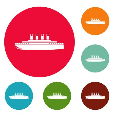Ship retro icons set