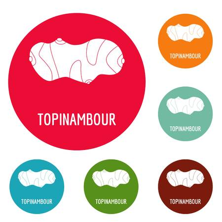 Topinambour icons set vector