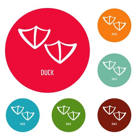 Duck step icons set vector