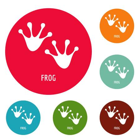 Frog step icons  set vector Vectores