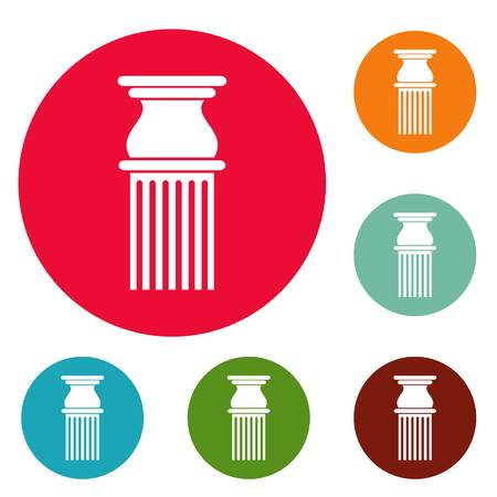 Classical column icons set vector Illustration