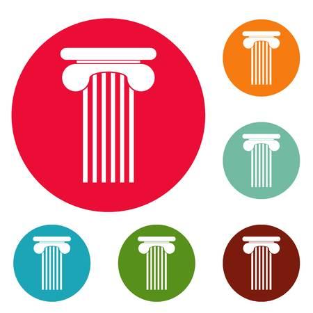 Top column icons set vector
