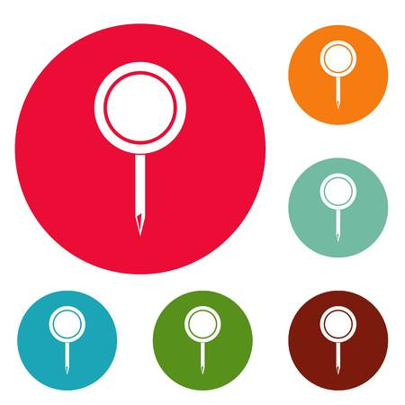Round pin icons set vector