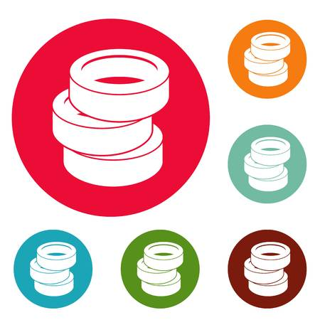 Stack of tire icons circle set vector isolated on white background